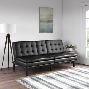Black Memory Foam Faux Leather Reclinable PillowTop Futon / Sofa / Couch with Cupholder for Sale in Whittier, CA