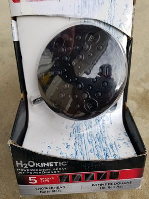 Delta 5-Spray 4.19 in. Fixed Showerhead with H2Okinetic in Matte Black for Sale in Murrieta, CA