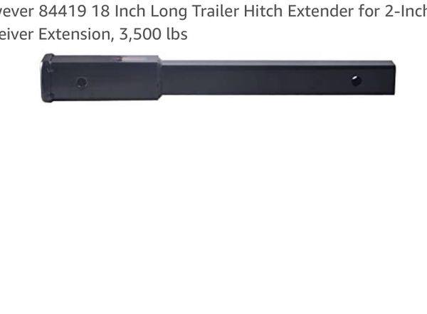 18 Inch Long Trailer Hitch Extender for 2-Inch Receiver Extension, 3,500 lbs