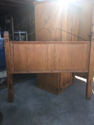 Rustic queen headboard with frame & matching armoire for Sale in Young, AZ