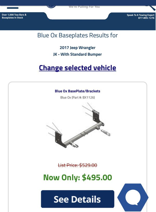 Blue Ox base Tow RV Jeep Wrangler