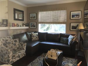 Dark Brown Leather Sectional Sofa and Side Chair for Sale in Aliso Viejo, CA