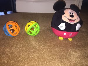 Mickey Mouse stuffed ball and 2 baby ball toys for Sale in Oakton, VA