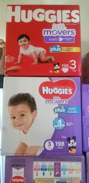 Huggies little movers size 3 198 daipers $42 each box firm for Sale in Los Angeles, CA
