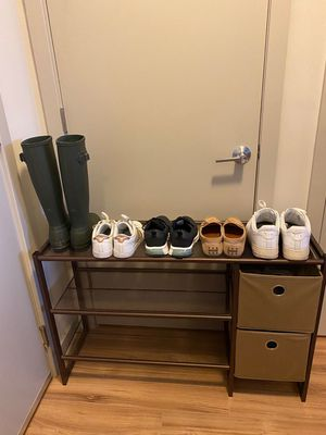 3 tier metal shoe rack with 2 storage bin for Sale in Rockville, MD