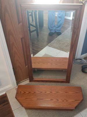 Amish Made Solid oak mirror and shelf. for Sale in Cuyahoga Falls, OH