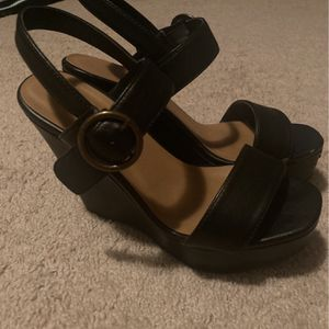 Women's Black Strap Wedges - Charlotte Russe for Sale in Normal, IL