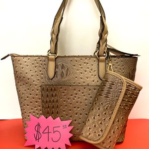 BROWN & TAN 2 PC TOTE - WOMENS HANDBAG/ PURSE 👜 NEW WITH TAGS for Sale in Winchester, CA
