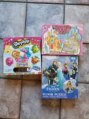 Frozen and Princess Castle Puzzles, Shopkins Supermarket Scramble Game for Sale in San Diego, CA