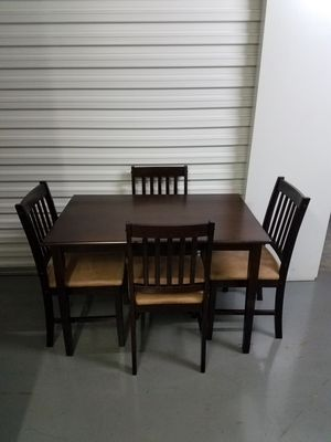 Wooden Table With 4 Chairs Table Size: Length 44.5 27.5 inches Width 30 inches Height inches for Sale in Dallas, TX