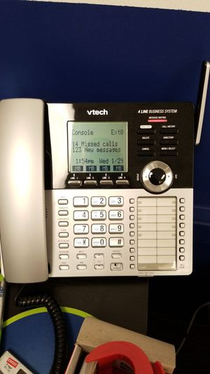 Vtech 4 line cored phone with 1 wireless phone & charger for Sale in Arlington Heights, IL
