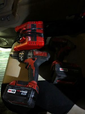 Milwaukee drill set impact and hammer drill with 2 bat and charger for Sale in Las Vegas, NV