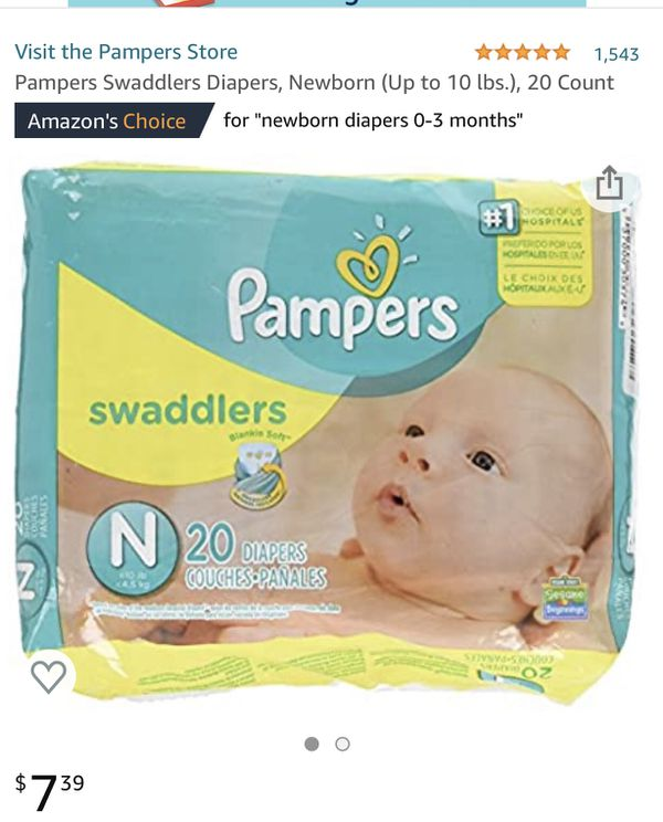 Pampers Swaddlers Diapers, Newborn (Up to 10 lbs.), Total 80