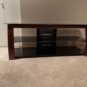 3 Tiered Brown Wood + Glass TV Stand for Sale in Issaquah, WA