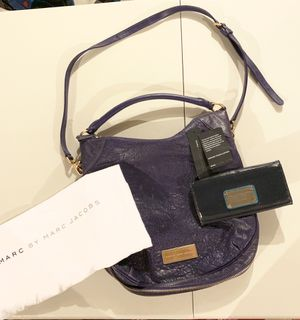 Marc By Marc Jacobs Q Hillier Hobo Bag in Blue/Matching Wallet for Sale in Naperville, IL