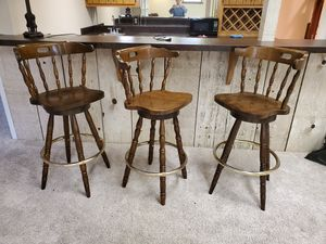 Three solid wood bar stools for Sale in Roanoke, TX