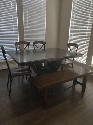 Dining set (table, 4 chairs and a bench). Functional dining table with 8 wine bottle storage for Sale in Atascocita, TX