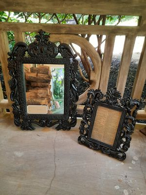 Pair Mirror and Frame Black Victorian Gothic for Sale in Greenville, SC