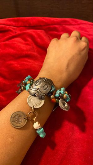 925 Sterling silver bracelet with turquoise in Buffalo nickel And Indian head penny for Sale in Houston, TX