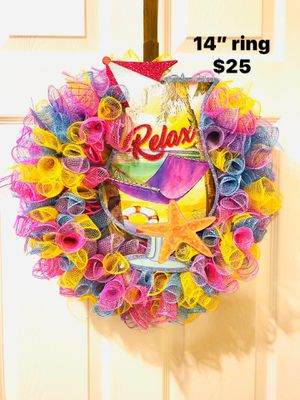 Summer beach drink flamingo door wall mesh wreath for Sale in Florence, KY