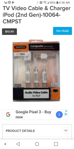 Griffin composite. 1.8m audio video cable for ipod for Sale in Riverside, CA