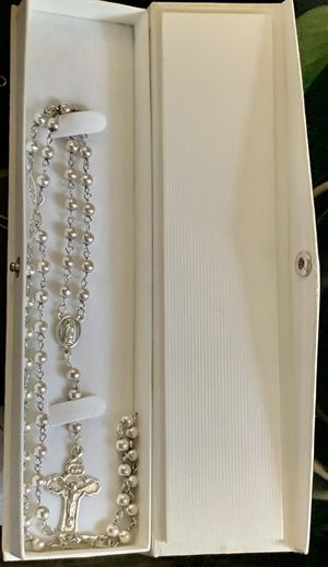 """Antique 925 Mexico MC 211 Sterling Silver Virgin Mary & Medal Jesus Christ Rosary 26"""" Plus 5"""" PRICE IS FIRM UNISEX Weight 20.51 grams for Sale in Mountain View, CA"""