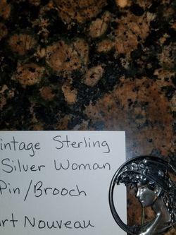 VINTAGE STERLING SILVER WOMAN BROOCH/PIN ART NOUVEAU for Sale in Houston,  TX