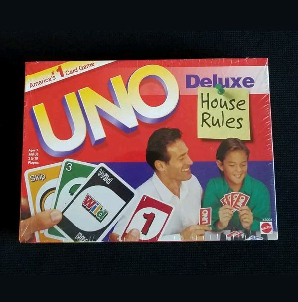 1998 UNO Deluxe House Rules America's #1 Card Game Mattel Inc.