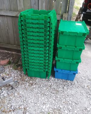 Plastic fold top, stackable, lockable storage containers for Sale in Granite City, IL