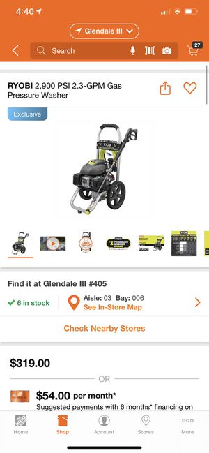 RYOBI 2,900 PSI 2.3-GPM Gas Pressure Washer BRAND NEW $220 price firm for Sale in Glendale, AZ