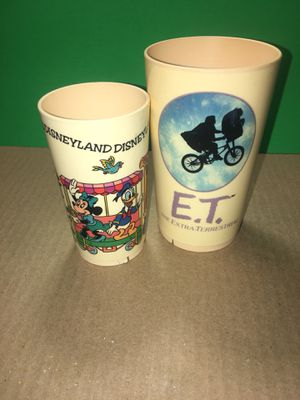 2 Vintage Cup Glass, 1982 Deka 1982 The E.T. Extra-Terrestrial Plastic Juice Cup and MICKEY MOUSE & FRIENDS ON TRAIN PLASTIC for Sale in El Paso, TX