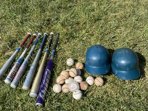 Baseball balls, helmet,metal bats for Sale in Victorville, CA