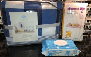 NEW blue baby Crib 4pc set &Diapers/Set de Cuna NUEVO for Sale in Lyons, IL