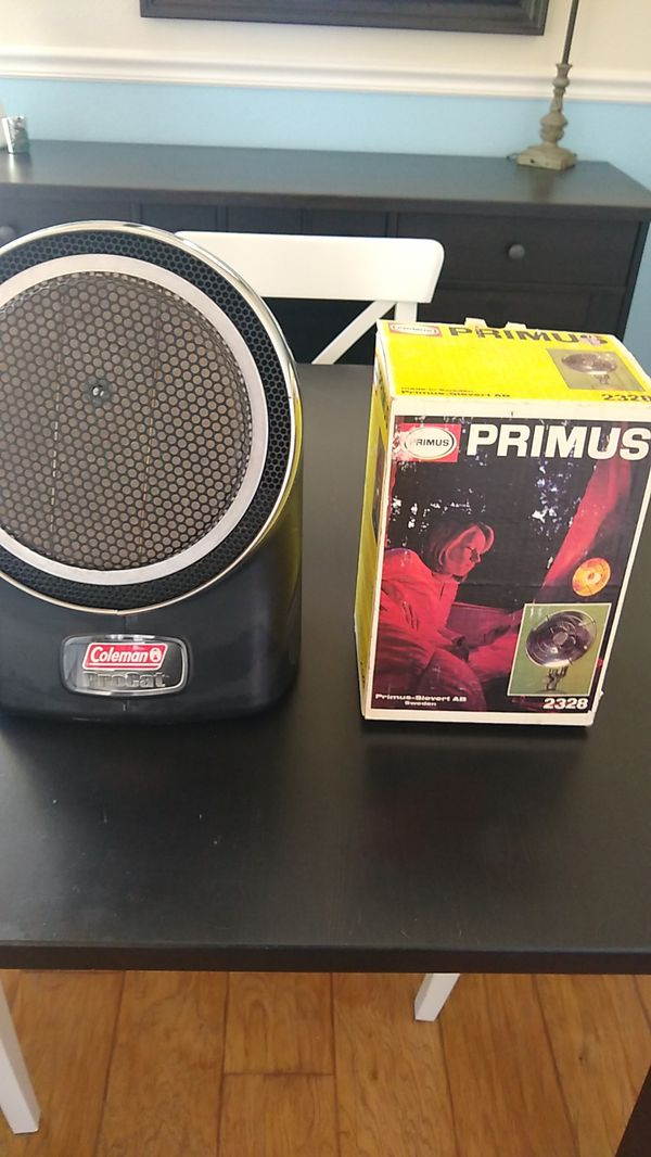 Coleman portable catalytic heater and Primus portable propane heater
