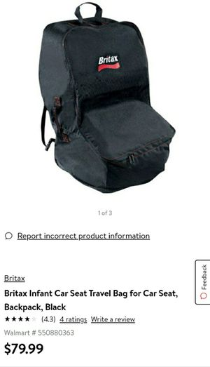 BRAND NEW Britax Infant Car Seat Travel Bag for Car Seat, Backpack, Black for Sale in San Antonio, TX