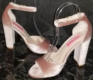 Betsey Johnson 5.5 Pink Velvet High Heels Pumps Stilettos Shoes, Ankle Straps NwoT for Sale in San Diego, CA