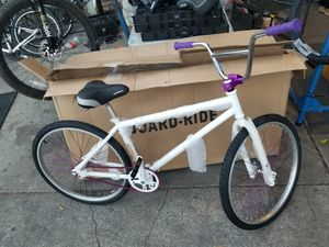 Adult bmx w coaster brake wheel 26 in purple anodized mosh bars for Sale in Los Angeles, CA