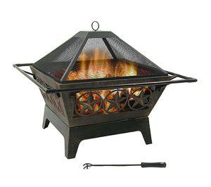 "Heavy Duty Metal 32"" Large Square Wood Burning Patio & Backyard Firepit for Outside w/ Cooking BBQ Grill Grate, Spark Screen& Fireplace Poker for Sale in Hidden Hills, CA"