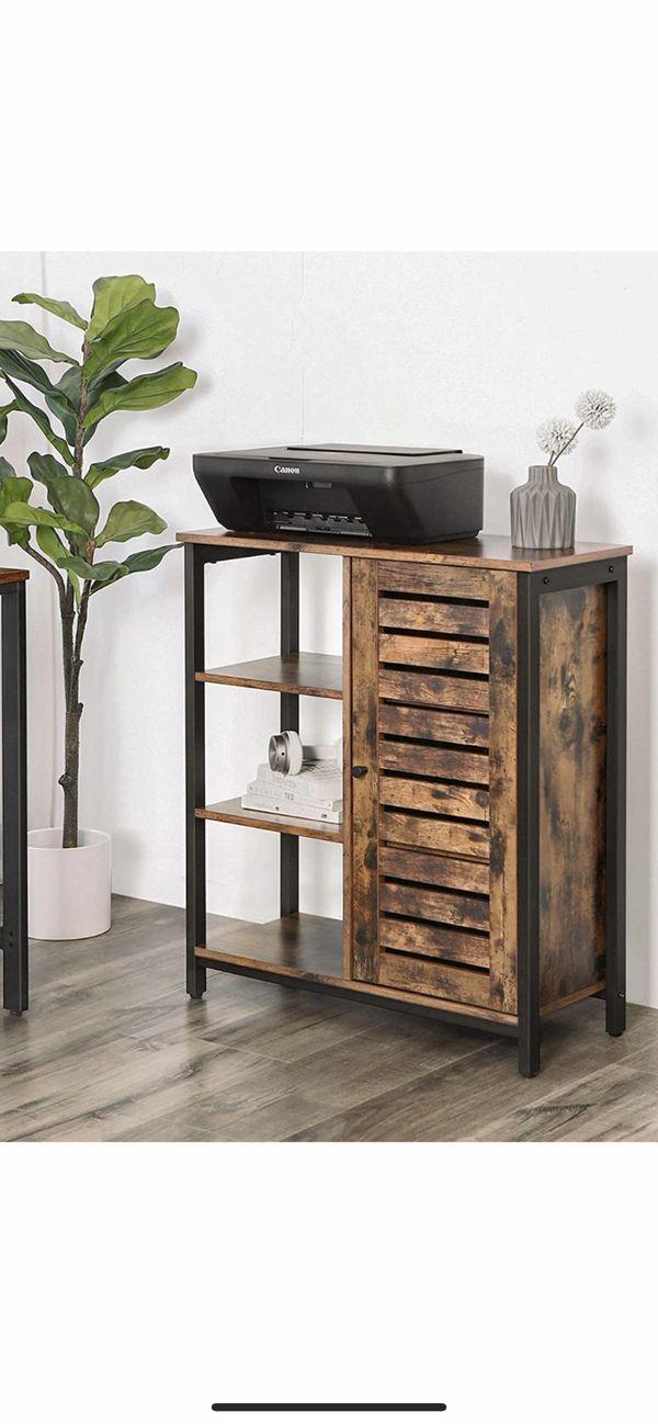 Lowell Storage Cabinet, Floor Standing Cabinet, Sideboard with 3 Shelves and Cupboard, Living Room, Bedroom, Hallway, Kitchen, Industrial Design, Rus