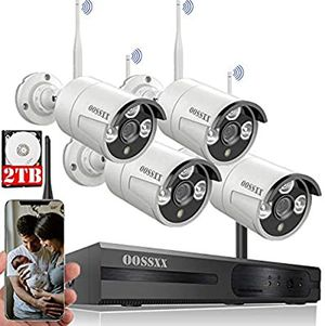 OOSSXX 8 Channel HD 1080P Audio 8 Channel Wireless Security Camera System, 4 Wireless Indoor / Outdoor IR Bullet 1080P IP Cameras with One Way Audio, for Sale in Spring Valley, CA
