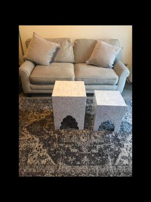 """Living room set large beige sofa 70x35"""" free 2 pillows 2 mosaic tables 33x18"""" & 18x20"""" and beige brown rug 5x7"""" for Sale in Gaithersburg, MD"""