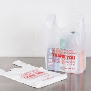 Small 1/10 White Thank You Plastic T-Shirt Bag 1000 per box for Sale in Chicago, IL