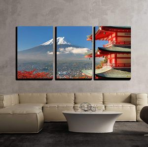 """3 Piece Canvas Wall Art - Mt. Fuji Viewed from Behind Chureito Pagoda. - Modern Home Decor Stretched and Framed Ready to Hang - 24""""x36""""x3 Panels for Sale in City of Industry, CA"""
