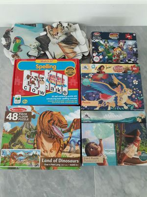 Melissa & Doug Dinosaurs & Animals Floor Puzzles, Spelling, Disney Mickey, Elena of Avalor & Moana Puzzles - take all 6 puzzles for $15 total for Sale in Rancho Cucamonga, CA