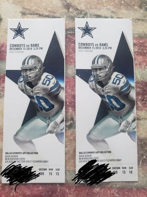 Rams @ Cowboys! 12/15/19 @ 1:25 pm! GREAT SEATS FOR A GREAT l! for Sale in Ontario, CA