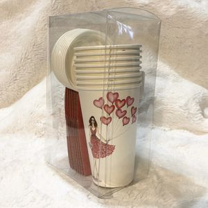 """Graphique 8 Travel Paper Cups w/Lids and Sleeves """"Heart Balloons"""" for Sale in Virginia Beach, VA"""
