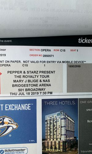 Mary J. Blige and Nas concert tickets for Sale in Nashville, TN