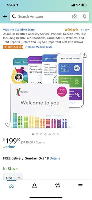 23andMe Health + Ancestry Service: Personal Genetic DNA Test Including Health Predispositions, Carrier Status, Wellness, and Trait Reports (Before Yo for Sale in Bloomfield, NJ