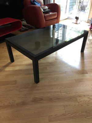 Crate and Barrel Black Glass Coffee Table for Sale in Princeton, NJ