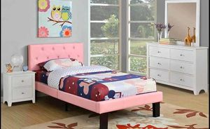 "BRAND NEW FULL SIZE BED FRAME HB 35"" H / FB 13"" H PINK FAUX LEATHER NEW IN BOXES ASSEMBLY REQUIRED $169 TWIN FRAME ONLY $199 FULL FRAME ONLY MAT for Sale in Chino, CA"